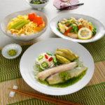 蕗と干瓢の七夕ちらし_鮎と素麺のひすいあんかけ盛付け